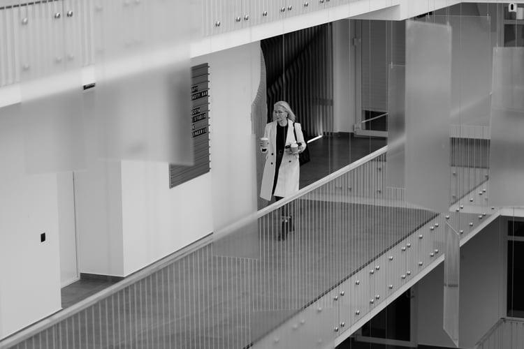 woman in futuristic office b&w